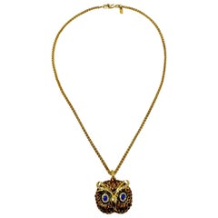 Kenneth Jay Lane KJL Enameled Metallic Embellished Owl Pendant Necklace in Gold