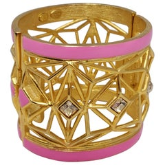 Kenneth Jay Lane KJL Geometric Chunky Gold Bangle Bracelet with Pink Accents
