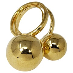 Kenneth Jay Lane KJL Gold Chucky Ball Double Cocktail Statement Ring