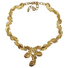 Kenneth Jay Lane KJL Golden Plume Feather Link Necklace