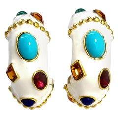 Kenneth Jay Lane KJL Jeweled White Enamel Clip on Earrings in Gold