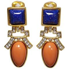 Kenneth Jay Lane KJL Lapis Lazuli and Coral Art Deco Dangling Clip On Earrings