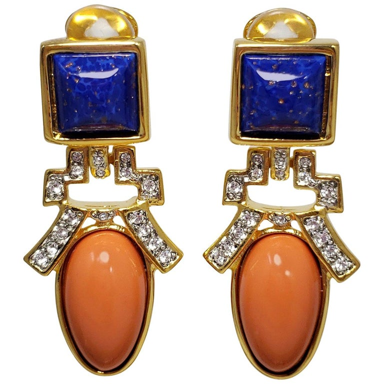 Kenneth Jay Lane KJL Lapis Lazuli and Coral Art Deco Dangling Clip On Earrings For Sale