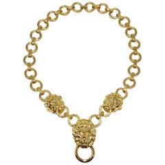 Kenneth Jay Lane KJL Lion Doorknocker Pendant Chain Link Necklace in Gold