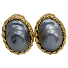 Kenneth Jay Lane KJL Mother of Pearl Gold Embellished Bezel Clip on Earrings
