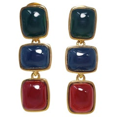 Kenneth Jay Lane KJL Multicolor Jelly Cabochon Gold Bezel Drop Dangle Earrings
