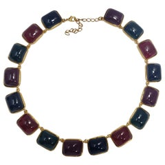 Kenneth Jay Lane KJL Multicolor Jelly Cabochon Gold Bezel Link Necklace