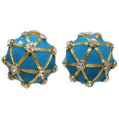 Kenneth Jay Lane KJL Turquoise Enamel Clear Crystal Round Clip on Earrings