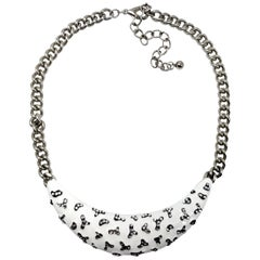 Kenneth Jay Lane KJL White and Black Enamel Crystal Collar Necklace in Silver