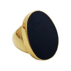 Kenneth Jay Lane Midnight Black Flat Enamel Oval Cocktail Ring in Gold, KJL