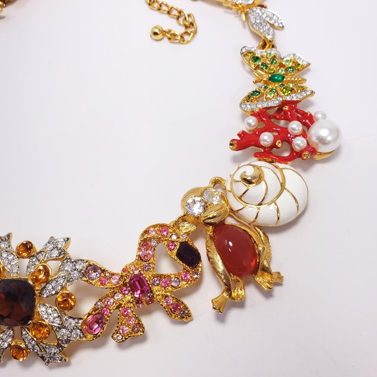 Women's Kenneth Jay Lane Ornate Colorful Crystal Kaleidoscope Collar Necklace in Gold For Sale