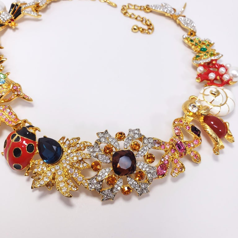 Kenneth Jay Lane Ornate Colorful Crystal Kaleidoscope Collar Necklace in Gold For Sale 1