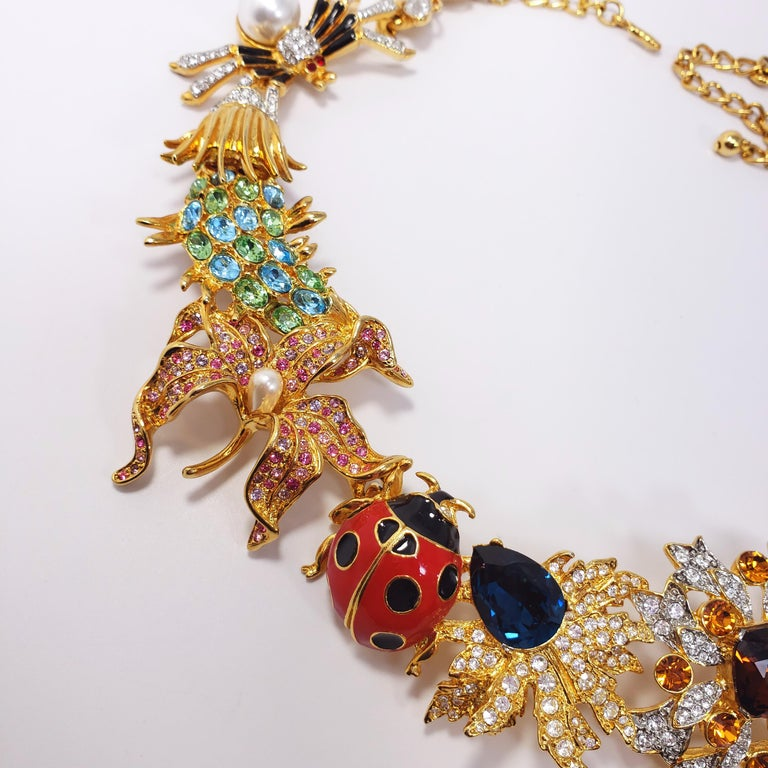 Kenneth Jay Lane Ornate Colorful Crystal Kaleidoscope Collar Necklace in Gold For Sale 2