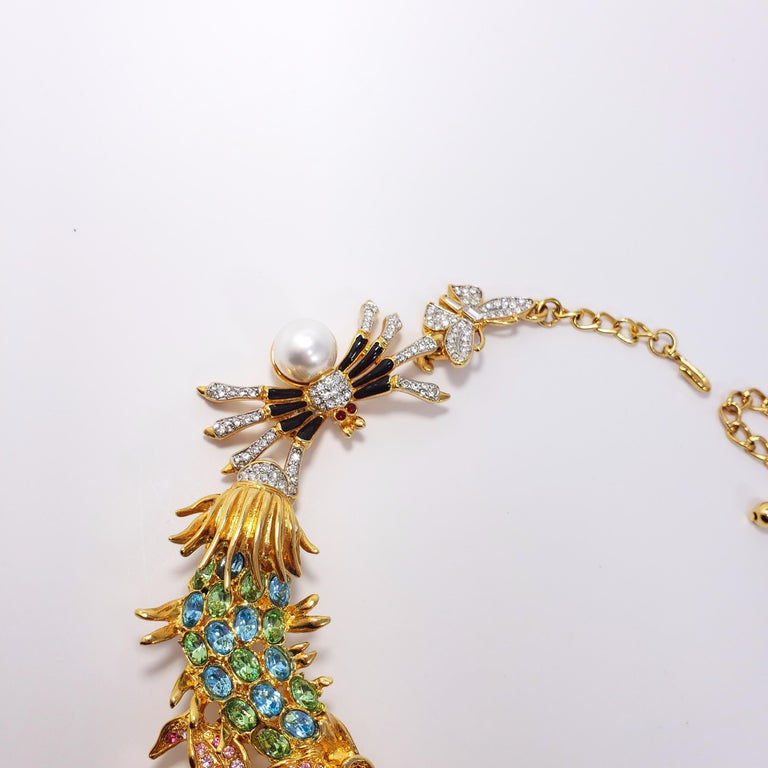 Kenneth Jay Lane Ornate Colorful Crystal Kaleidoscope Collar Necklace in Gold For Sale 3