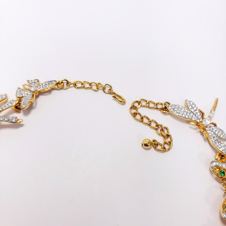 Kenneth Jay Lane Ornate Colorful Crystal Kaleidoscope Collar Necklace in Gold For Sale 4