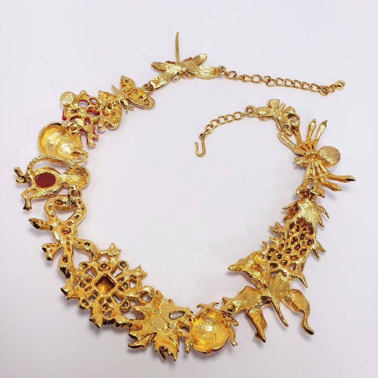 Kenneth Jay Lane Ornate Colorful Crystal Kaleidoscope Collar Necklace in Gold For Sale 5