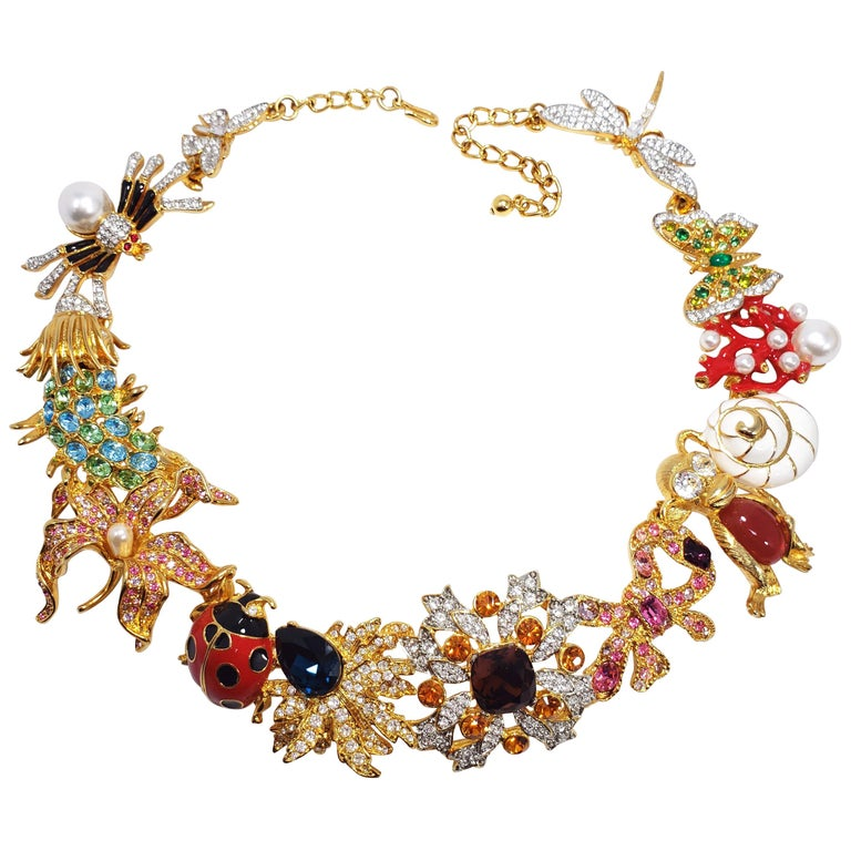 Kenneth Jay Lane Ornate Colorful Crystal Kaleidoscope Collar Necklace in Gold For Sale
