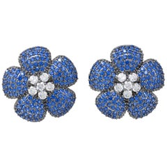 Kenneth Jay Lane Pave Sapphire Cubic Zirconia Flower Button Clip On Earrings