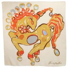 Kenneth Jay Lane Silk Unicorn Scarf