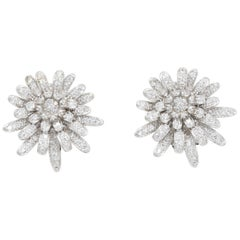 Kenneth Jay Lane Silver Clear Cubic Zirconia Crystal Flower Button Clip Earrings
