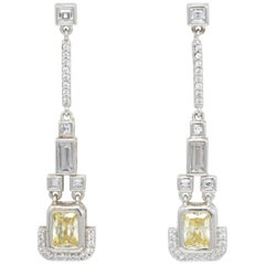 Kenneth Jay Lane Silver Jonquil Cubic Zirconia Drop Dangle Earrings, Deco Style