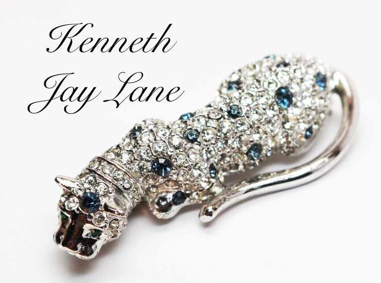 Art Deco Kenneth Jay Lane Silver Leopard Brooch For Sale