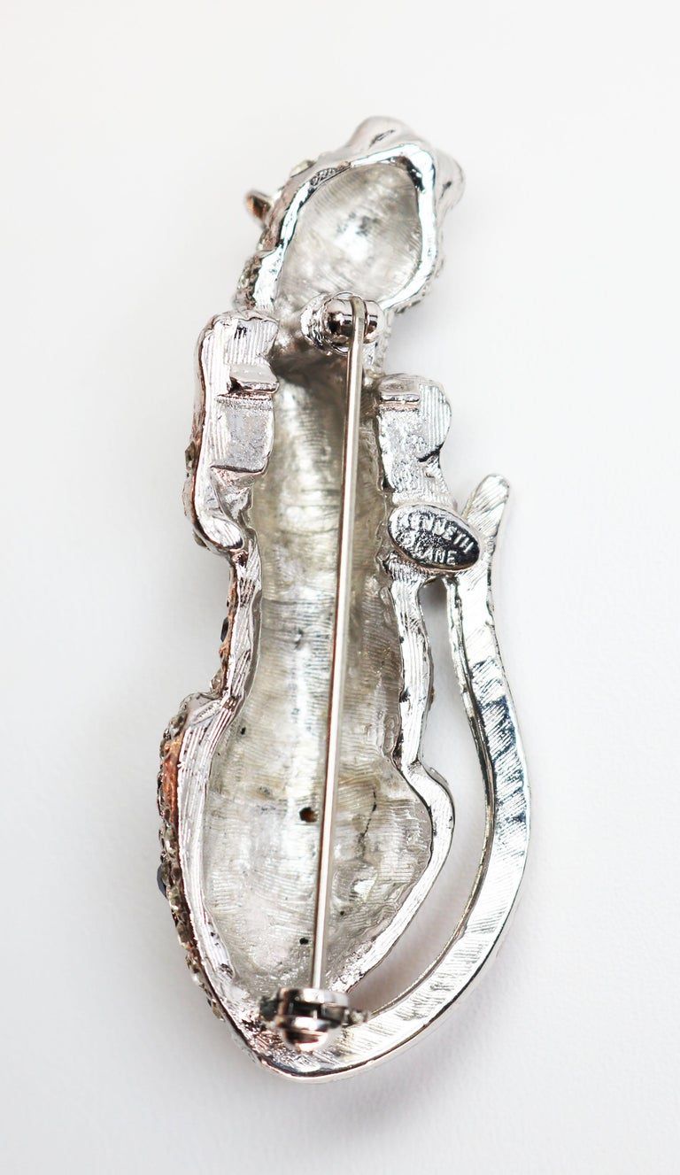 Kenneth Jay Lane Silver Leopard Brooch For Sale 3