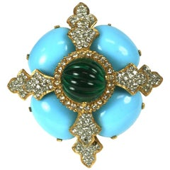 Kenneth Jay Lane Turquoise and Emerald Crest