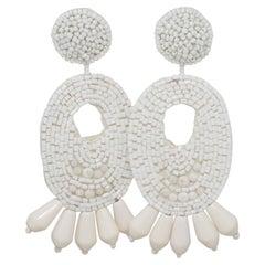 Kenneth Jay Lane White Bead Cluster Bold Oversized Clip on Earrings