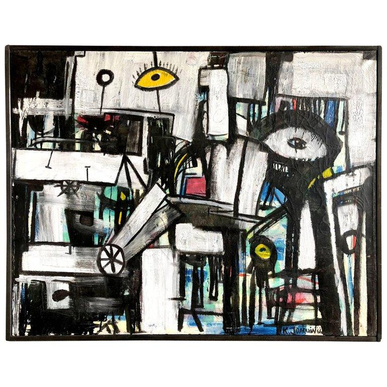 American Kenneth Joaquin Abstract Modernist Eye Painting For Sale