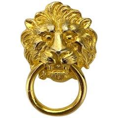 Kenneth Lane 1980s Gold Lion Door Knocker Brooch