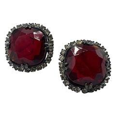 Kenneth Lane 1980s Large Ruby Red & Rhinestone Jewel Earrings