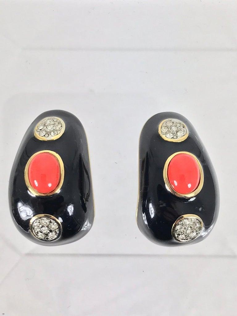 Women's Kenneth Lane Black Enamel Coral and Rhinestone Earrings  For Sale