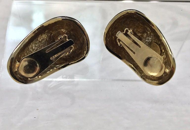 Kenneth Lane Black Enamel Coral and Rhinestone Earrings  For Sale 1