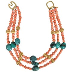 Kenneth Lane Faux Coral and Turquoise Triple Strand Necklace