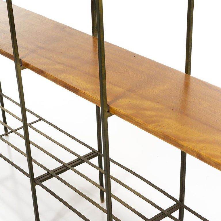 Kenneth Lind Mid-Century Wood & Metal Room Divider, circa 1950s In Fair Condition For Sale In New York, NY