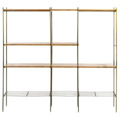 Kenneth Lind Mid-Century Wood & Metal Room Divider, circa 1950s