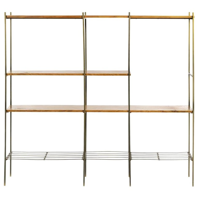 Kenneth Lind Mid-Century Wood & Metal Room Divider, circa 1950s For Sale