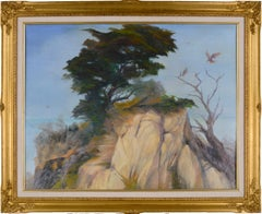 Monterey Cypress Point Lobos Landscape with Red Tailed Hawk