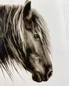 """Untitled"" photorealistic black and white oil painting of a horse in profile"