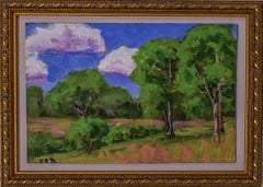 Tree Trio (Oil on Canvas Landscape of Trees in a Field)