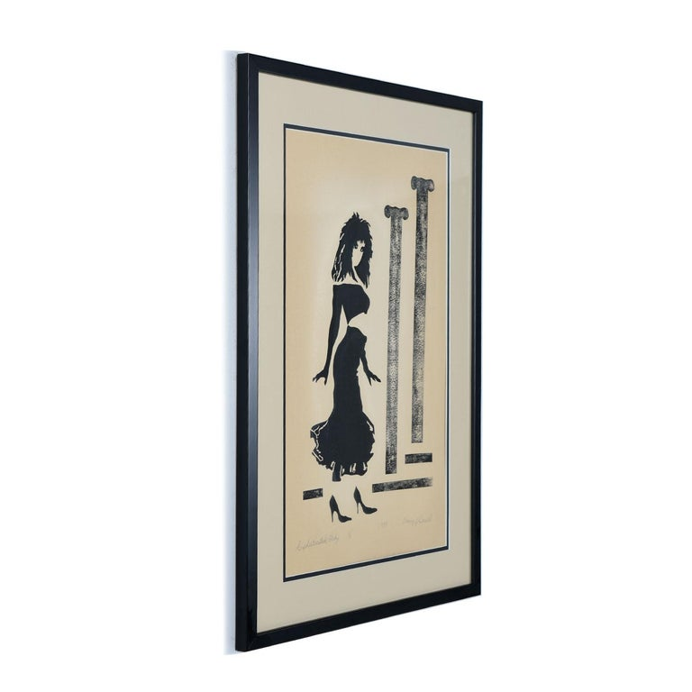 "This vintage 1988 pencil signed serigraph, ""Sophisticated Lady,"" perfectly captures the spirit of the divine feminine. The female figure stands in bold, self-assured form. She is a woman who is comfortable in her sexuality as exhibited by her"