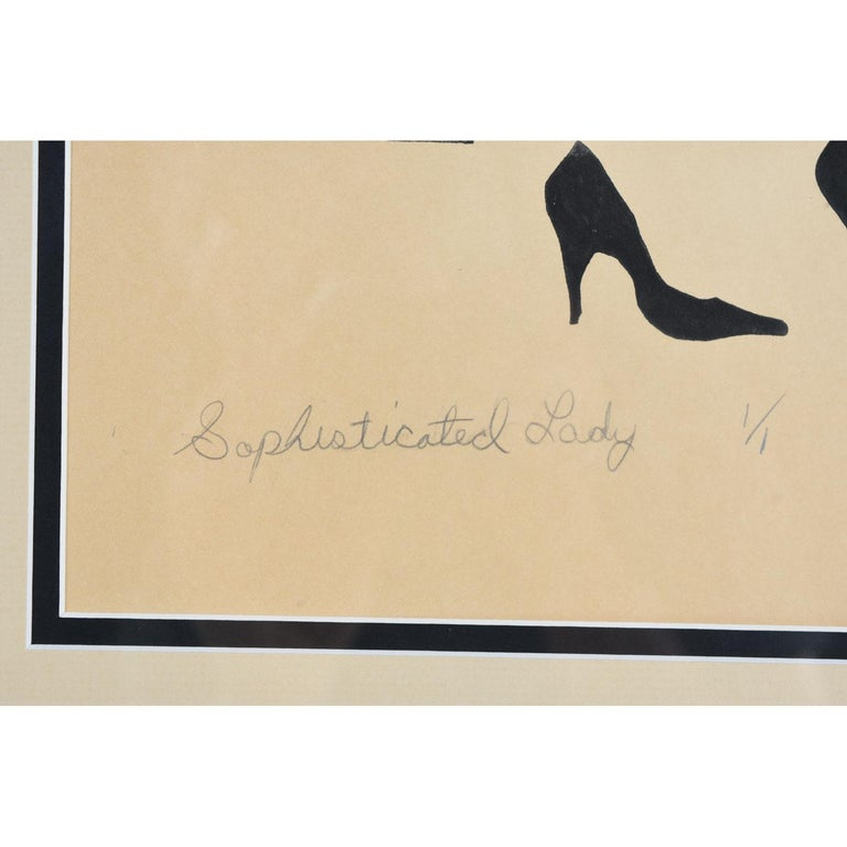 American Vaporwave Style Kenny Dasch Sophisticated Lady Pencil Signed Print, 1988 For Sale