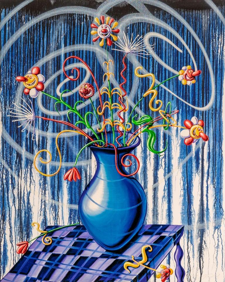 Flores Blue Pop Contemporary Still Life Kenny Scharf   - Print by Kenny Scharf