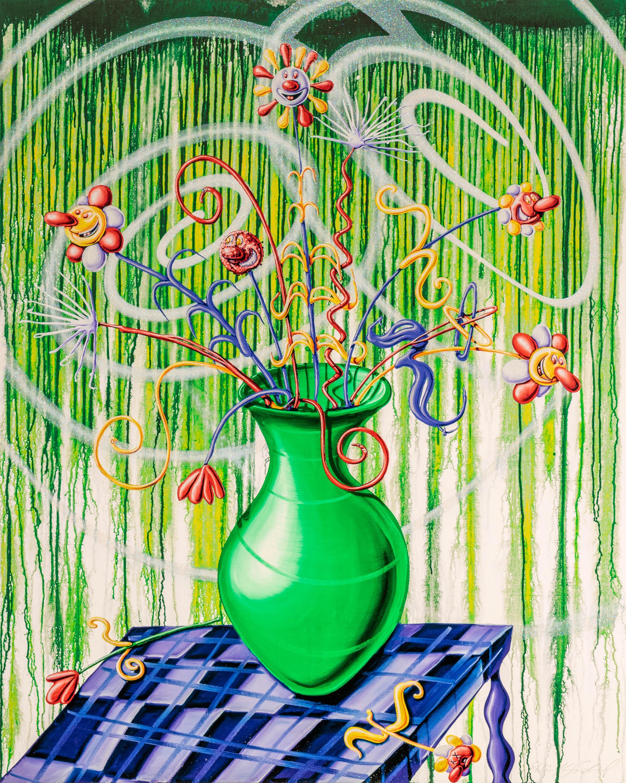 Flores Green Pop Contemporary Still Life Kenny Scharf