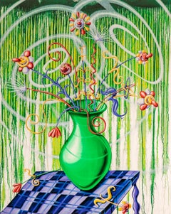 Flores Green Pop Contemporary Still Life Kenny Scharf