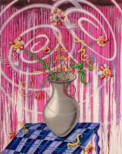 Flores Magenta Pop Art Contemporary Pink Still Life Kenny Scharf