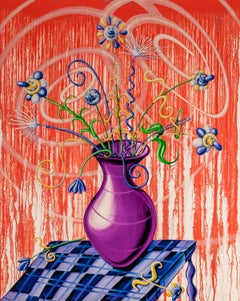 Flores Red Pop Art Red Flowers Contemporary Still Life Kenny Scharf