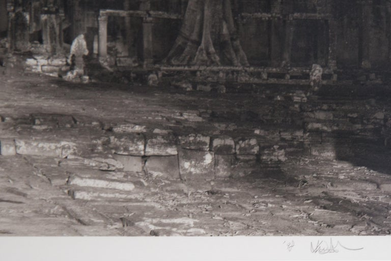 Offered is photographer Kenro Izu's seldom found original of his most sought after work. This is vintage signed original platinum/palladium contact print photograph of Angkor Wat, circa 1986. In 2004 this image was used as the cover of Izo's highly