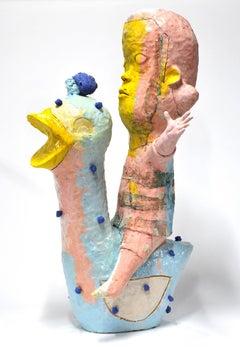 """Bird Rider"", Contemporary, Figurative, Ceramic, Sculpture, Colorful, Glaze"